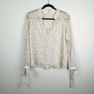 Derek Lam 10 Crosby cream blouse with Gold